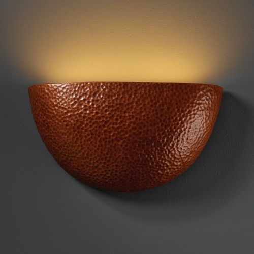 Justice Design Group Sconce Wall Light in Hammered Copper Finish CER-5730-HMCP