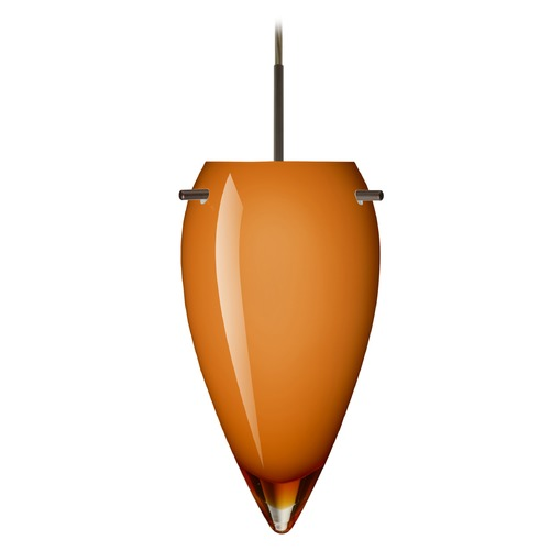 Besa Lighting Besa Lighting Juli Bronze LED Mini-Pendant Light with Oblong Shade 1JT-4125AG-LED-BR