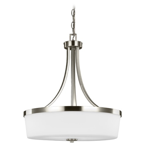 Sea Gull Lighting Sea Gull Lighting Hettinger Brushed Nickel LED Pendant Light with Drum Shade 6639103EN3-962