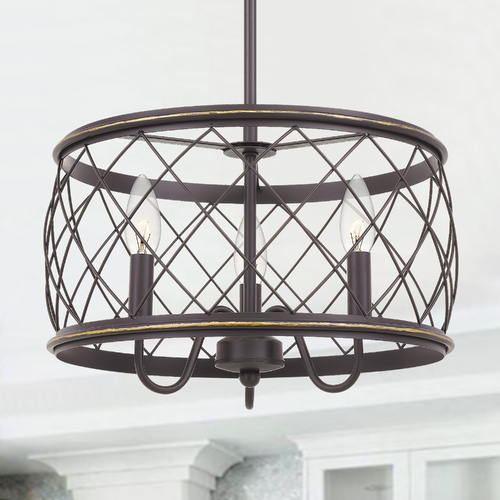 Quoizel Lighting Quoizel Lighting Dury Palladian Bronze Pendant Light with Drum Shade RDY2815PN