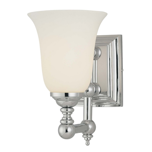Minka Lavery Modern Sconce with White Glass in Chrome Finish 3221-77