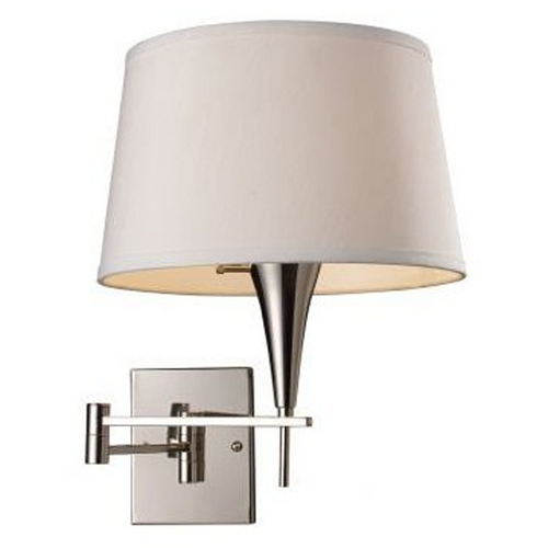Elk Lighting Modern Swing Arm Lamp with White Shade in Polished Chrome Finish 10108/1