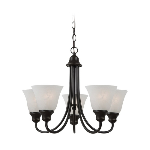 Sea Gull Lighting Mini-Chandelier with Alabaster Glass in Heirloom Bronze Finish 35940-782