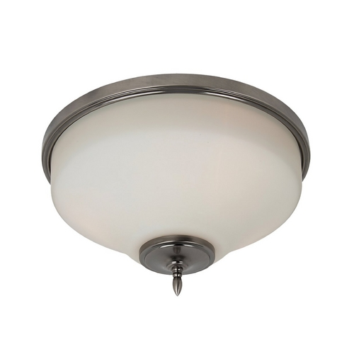 Sea Gull Lighting Flushmount Light with White Glass in Antique Brushed Nickel Finish 75180-965