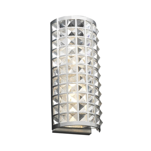 PLC Lighting Modern Sconce Wall Light with Clear Glass in Polished Chrome Finish 18185 PC