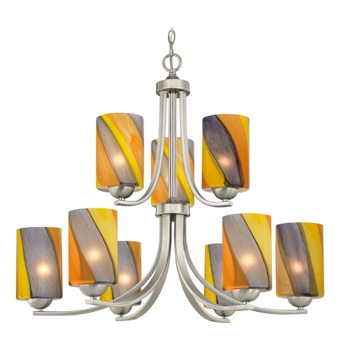 Design Classics Lighting Modern Chandelier with Art Glass in Satin Nickel Finish 586-09 GL1015C