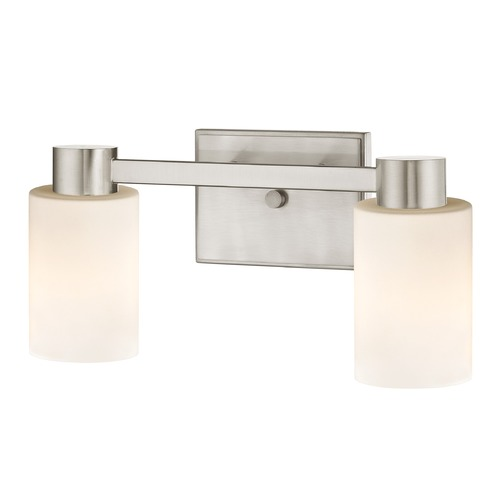Design Classics Lighting 2-Light Shiny White Glass Bathroom Vanity Light Satin Nickel 2102-09 GL1024C