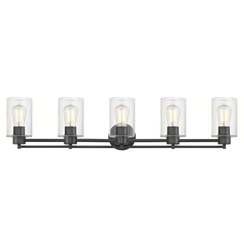 Design Classics Lighting Industrial Clear Glass Bathroom Light Black 5 Lt 706-07 GL1040C
