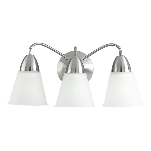 Progress Lighting Progress Bathroom Light with White Glass in Brushed Nickel Finish P3303-09