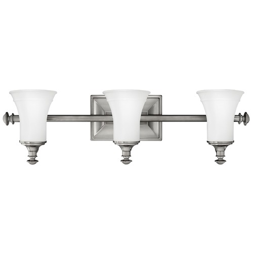 Hinkley Lighting Bathroom Light with White Glass in Antique Nickel Finish 5833AN