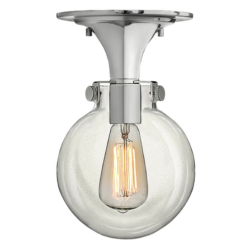 Hinkley Lighting Semi-Flushmount Light with Clear Glass in Chrome Finish 3149CM