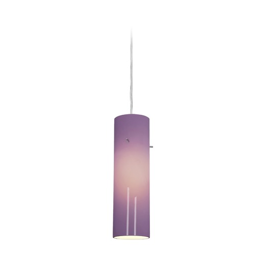 Access Lighting Access Lighting Delta Brushed Steel Mini-Pendant Light with Cylindrical Shade 97932-BS/PLM