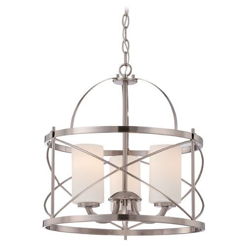 Nuvo Lighting Nuvo Lighting Ginger Brushed Nickel Pendant Light with Cylindrical Shade 60/5333
