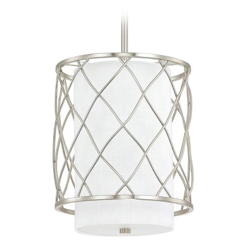 Capital Lighting Capital Lighting Sawyer Brushed Nickel Mini-Pendant Light with Cylindrical Shade 4831BN-614