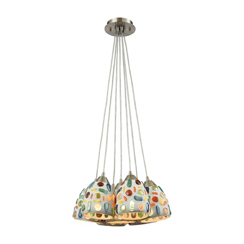 Elk Lighting Elk Lighting Gemstone Satin Nickel Multi-Light Pendant with Bowl / Dome Shade 542-7SR