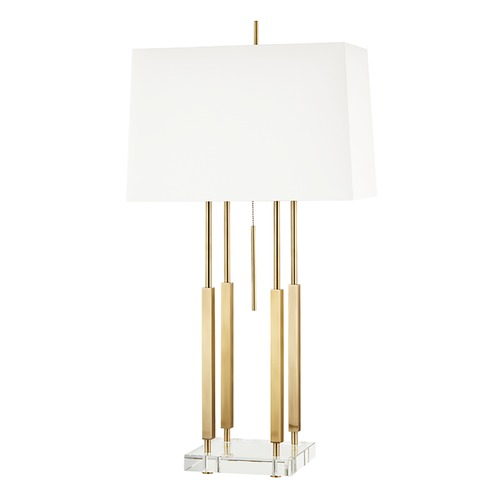 Hudson Valley Lighting Hudson Valley Lighting Rhinebeck Aged Brass Table Lamp with Rectangle Shade L1057-AGB