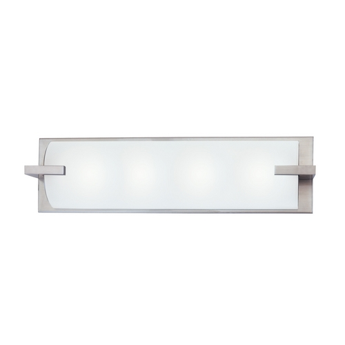 Sonneman Lighting Modern Bathroom Light with White Glass in Satin Nickel Finish 3794.13