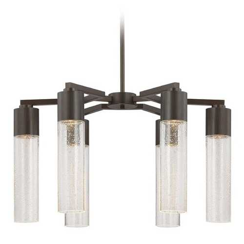 George Kovacs Lighting Modern Chandelier with Clear Glass in Sable Bronze Patina Finish P975-647