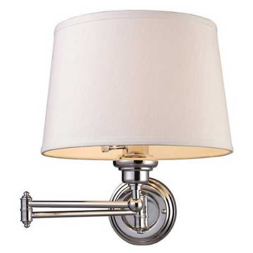 Elk Lighting Modern Swing Arm Lamp with White Shade in Polished Chrome Finish 11210/1