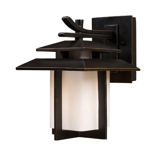 Elk Lighting Outdoor Wall Light with White Glass in Hazlenut Bronze Finish 42170/1