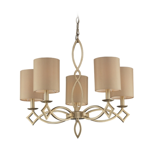 Elk Lighting Modern Chandelier with Beige / Cream Shades in Aged Silver Finish 31127/5