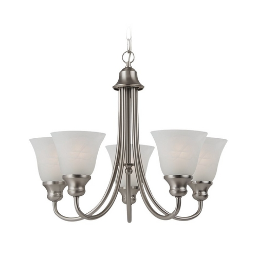 Sea Gull Lighting Mini-Chandelier with Alabaster Glass in Brushed Nickel Finish 35940-962