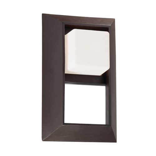 Minka Lighting Outdoor Wall Light with White Glass in Dorian Bronze Finish 72342-615B
