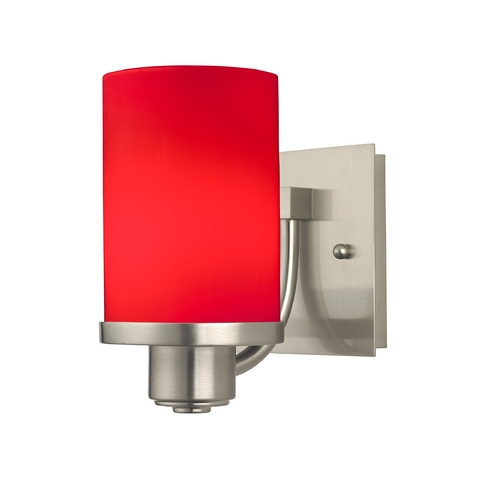 Design Classics Lighting Modern Wall Sconce with Red Cylinder Glass 589-09 GL1008C