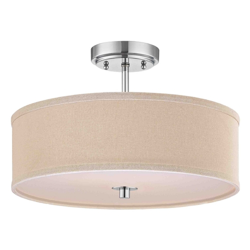 Design Classics Lighting Modern Chrome Ceiling Light with Cream Drum Shade - 16-Inches Wide DCL 6543-26 SH7493 KIT