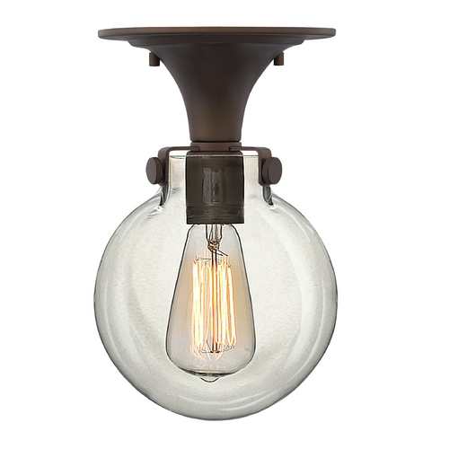 Hinkley Lighting Semi-Flushmount Light with Clear Glass in Oil Rubbed Bronze Finish 3149OZ