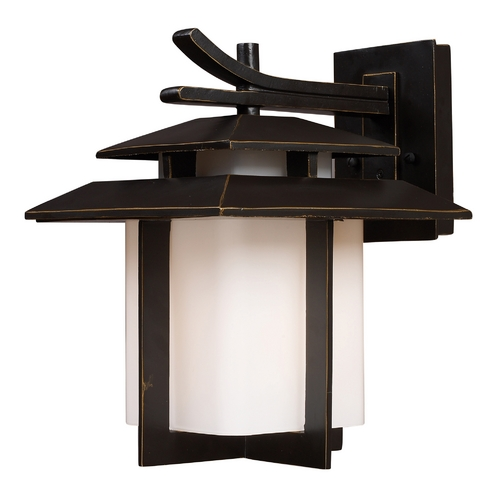 Elk Lighting Outdoor Wall Light with White Glass in Hazlenut Bronze Finish 42171/1