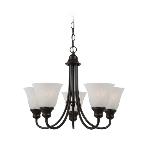 Sea Gull Lighting Mini-Chandelier with Alabaster Glass in Heirloom Bronze Finish 35940BLE-782
