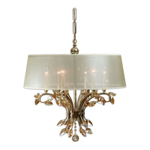 Uttermost Lighting Chandelier with Beige / Cream Shade in Burnished Gold Finish 21246