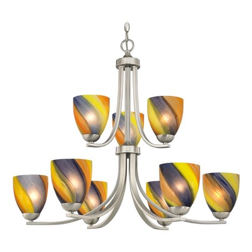 Design Classics Lighting Modern Chandelier with Art Glass in Satin Nickel Finish 586-09 GL1015MB