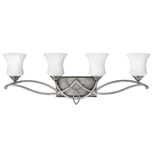 Hinkley Lighting Bathroom Light with White Glass in Antique Nickel Finish 5004AN