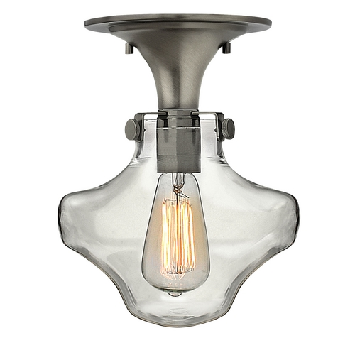 Hinkley Lighting Semi-Flushmount Light with Clear Glass in Antique Nickel Finish 3150AN