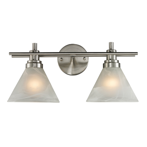Elk Lighting Modern LED Bathroom Light with White Glass in Brushed Nickel Finish 11401/2-LED
