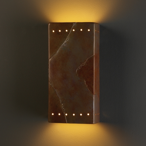 Justice Design Group Sconce Wall Light in Tierra Red Slate Finish CER-5965-SLTR