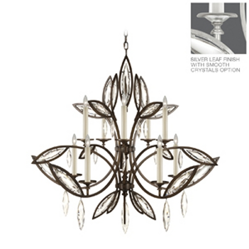 Fine Art Lamps Fine Art Lamps Marquise Platinized Silver Leaf Crystal Chandelier 844140-11ST