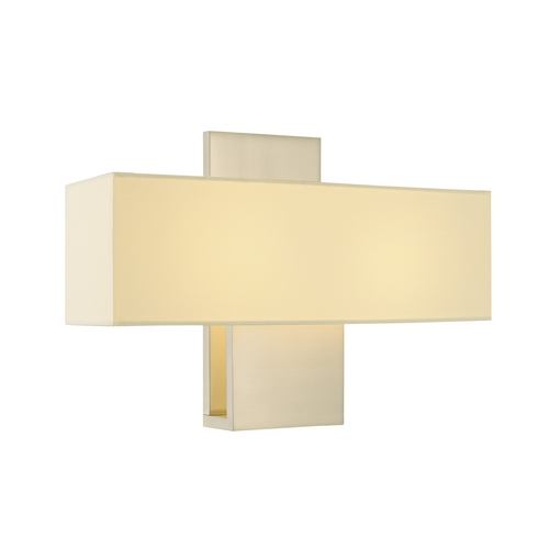 Sonneman Lighting Modern Sconce Wall Light with White Shades in Satin Nickel Finish 1861.13