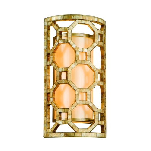 Corbett Lighting Modern Sconce with Silver Glass Shade in Stained Silver Leaf Finish 104-12