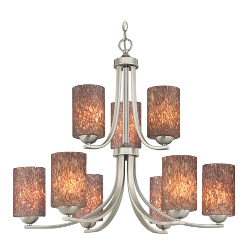 Design Classics Lighting Modern Chandelier with Brown Art Glass in Satin Nickel Finish 586-09 GL1016C