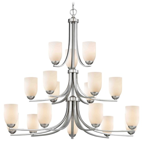 Design Classics Lighting Satin Nickel Chandelier 5863-09 GL1024D