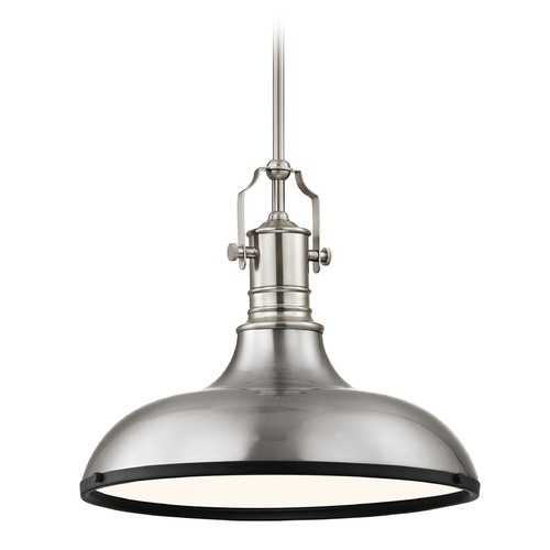 Design Classics Lighting Farmhouse Pendant Light Satin Nickel and Black 15.63-Inch Wide 1765-09 SH1777-09 R1777-07