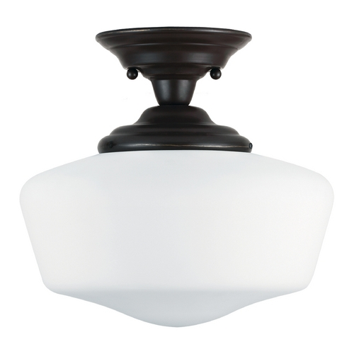 Sea Gull Lighting Schoolhouse Semi-Flushmount Light with White Glass in Heirloom Bronze Finish 77437-782