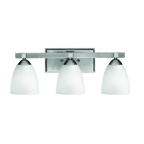 Hinkley Lighting Bathroom Light with White Glass in Antique Nickel Finish 5253AN