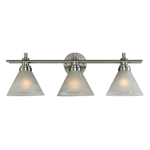 Elk Lighting Modern Bathroom Light with White Glass in Brushed Nickel Finish 11402/3