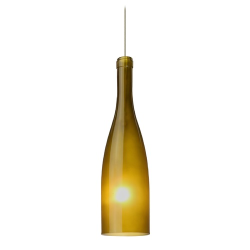 Besa Lighting Besa Lighting Botella Satin Nickel LED Mini-Pendant Light with Oblong Shade 1XT-1684GF-LED-SN