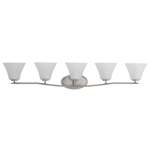 Progress Lighting Modern Bathroom Light with White Glass in Brushed Nickel Finish P2016-09