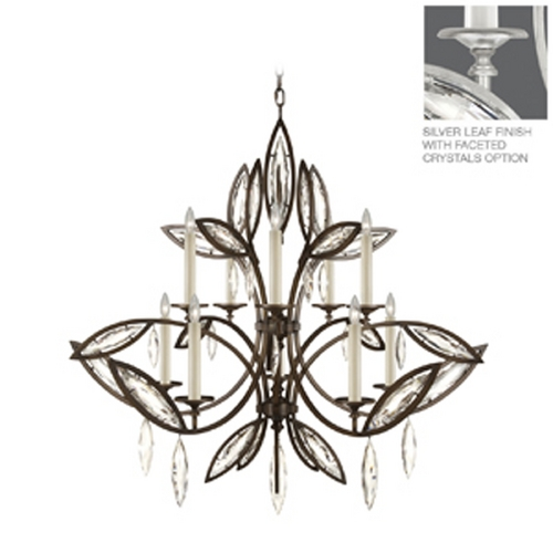 Fine Art Lamps Fine Art Lamps Marquise Platinized Silver Leaf Crystal Chandelier 844140-12ST